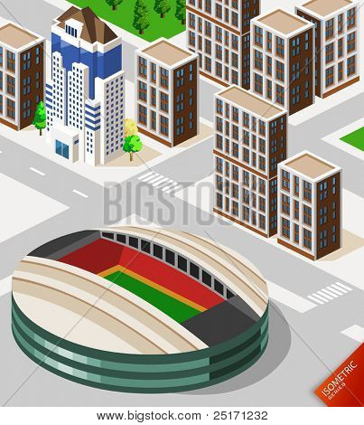 Fußball Stadion Isometrie