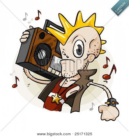 Punk with Stereo. Cartoon Series