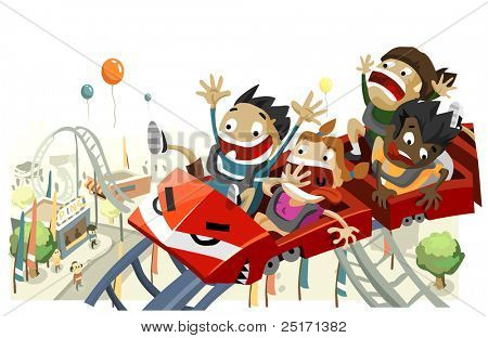 Fun with Roller Coaster. Copy space on top, very detailed illustration,