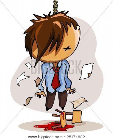 Pendure a mortos depressão de negócios. Ilustração vetorial