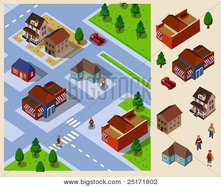 Nachbarschaft Isometrie. Satz von sehr detaillierte isometrische Vektor