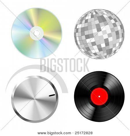 Audio Vektorobjekte: Scheiben Schaltfläche und Disco-Kugel