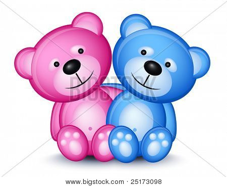 Teddy bear couple isolated on white background