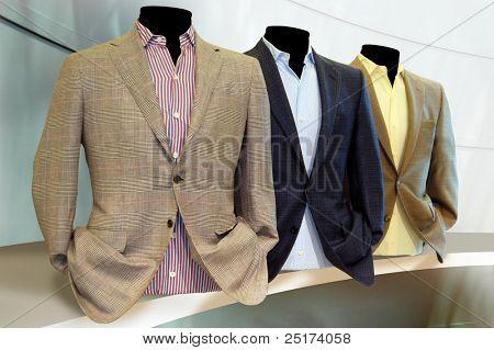 Suits on shelf
