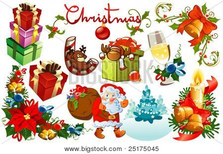 set of vector christmas design elements