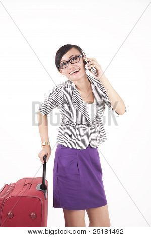 Asian Woman Talking On The Phone