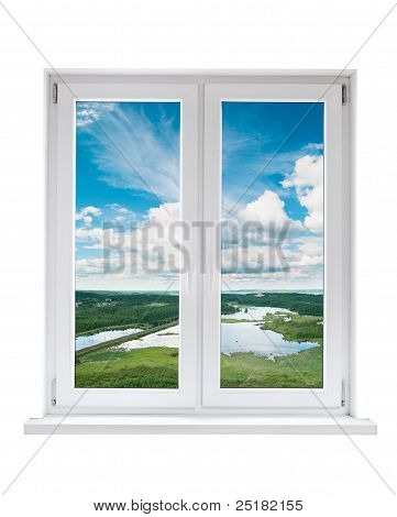 White plastic double door window