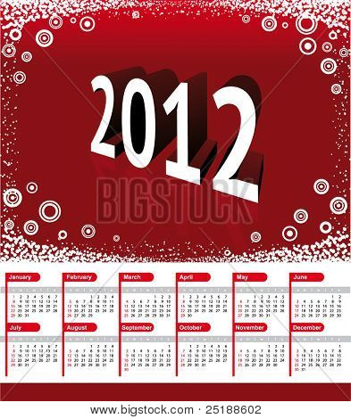 2012 Calendar. Vector red background with shadow 2012 and snowflakes in the corners