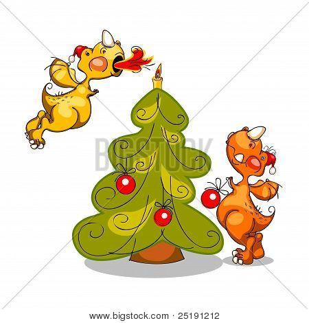 Dragons And Christmas Tree