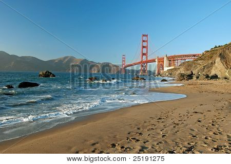 The Golden Gate Bridge In San Francisco Sunset