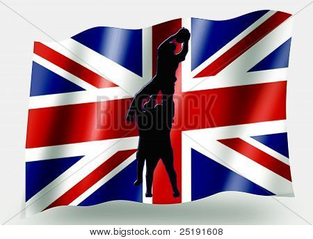 Country Flag Sport Icon Silhouette - Uk Rugby Lineout