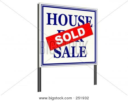 Real Estate Sold Rider on House For Sale Lawn Sign