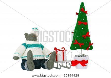 Stuffed Tomcat Toy, Fir Tree And Gift Box