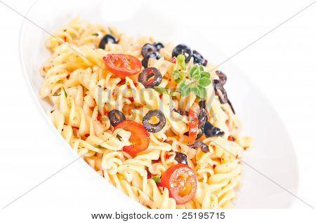 Vegetarian Pasta Aglio Olio In A Plate