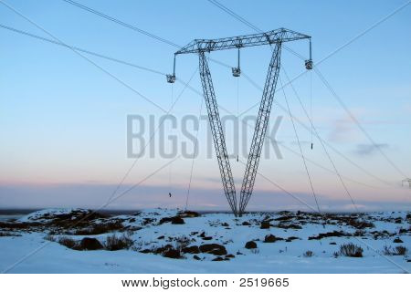 Powerlines In Winter