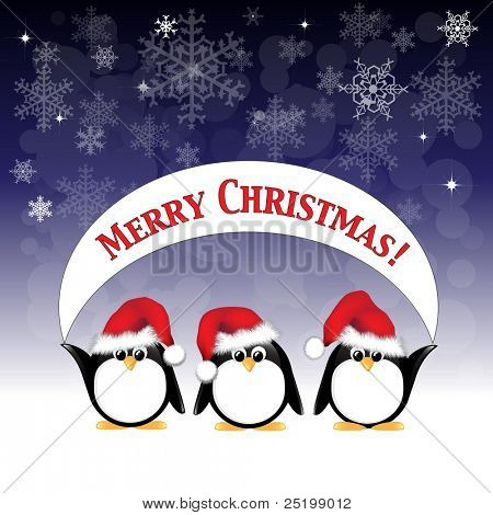 Winter cartoon penguins wearing Santa hats and holding a Merry Christmas banner against a night sky of stars and snowflakes. Also available in vector format.