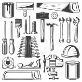 Construction And House Repair Tool Retro Icons. Screwdriver, Hammer And Spanner, Wrench, Paint And B poster