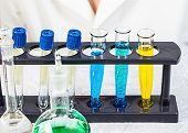 Laboratory Assistant Chemical Analysis. Chemical Laboratory. Chemical Reagents. poster