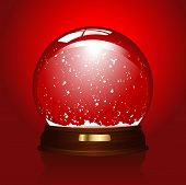 image of seasons greetings  - realistic illustration of an empty snowglobe over red  - JPG