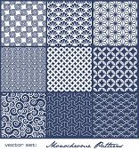 pic of monochromatic  - set of nine monochrome geometrical patterns  - JPG