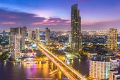 Aerial View Of Bangkok City Modern Office Buildings, Condominium, Hotel In Bangkok City Downtown Bus poster