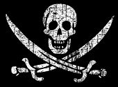 stock photo of skull crossbones flag  - Vector Vintage pirate flag - JPG