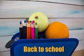 Back School Backpack Back To School Art Objects School Color Background. Back To School The Inscript poster