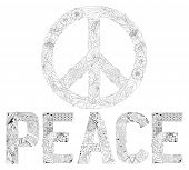 Word Peace And Sign Of Peace Zentangle Styled For Coloring And T-shirt Design, Tattoo And Other Deco poster