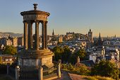 Edinburgh Sunset View With Dugald Steward Monument And Edinburgh Castle In The Background, Scotland, poster