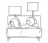 Cartoon Stick Drawing Conceptual Illustration Of Couple In Bed, Man Offering Something, Probably Sex poster