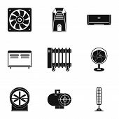 Heating Cooling Air Icon Set. Simple Style Set Of 9 Heating Cooling Air Vector Icons For Web Isolate poster