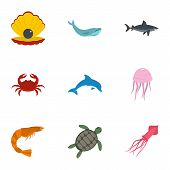 Water Wildlife Icons Set. Flat Set Of 9 Water Wildlife Vector Icons For Web Isolated On White Backgr poster