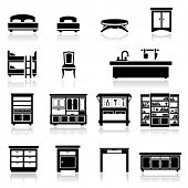 foto of bunk-bed  - Icons set home furniture - JPG