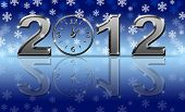 stock photo of new years celebration  - Silver 2012 Happy New Year Clock with Snowflakes and Reflection - JPG