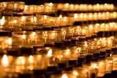 Group Of Grief Candles In Church For Obituary Faith Resurrection. Candle Is Symbol Of Sacrifice For  poster
