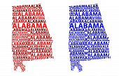 Sketch Alabama (united States Of America) Letter Text Map, Alabama Map - In The Shape Of The Contine poster