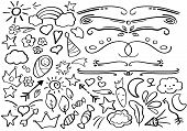 Black And White Doodle Borders. Handdrawn Vector Clipart. Funny Doodle Set In Freehand Style. Hand-d poster
