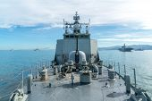 Combined Navy Fleet Comprise Of Several Type Of Ship Such As Aircraft Carrier, Destroyer, Frigate, O poster