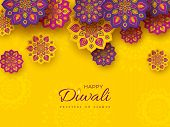 Diwali Festival Holiday Design With Paper Cut Style Of Indian Rangoli. Purple, Violet Color On Yello poster