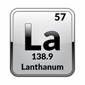 Lanthanum Symbol.chemical Element Of The Periodic Table On A Glossy White Background In A Silver Fra poster