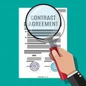 Hand Of Lawyer With Magnifying Glass Checks Contract Papaer. Research Documents, Research Documents. poster