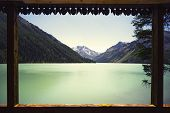 Beautiful Lake View From The Terrace Of A Penthouse. Wooden Tourist Base. View From The Wooden Balco poster