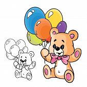 image of teddy bear  - Vector Illustration of cute teddy bear with balloons in color  - JPG