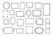 Hand Drawn Frames. Vintage Doodle Sketch Picture Frame Doodle Labels. Blank Black Square Cadre Recta poster