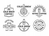 Cold Brew Coffee And Nitro Coffee Badges. Vector Line Art Logos For Cafe Of Coffee Shop. poster