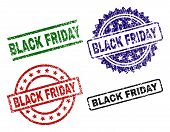 Black Friday Seal Prints With Distress Style. Black, Green, Red, Blue Vector Rubber Prints Of Black  poster