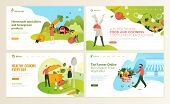 Set Of Web Page Design Templates For Food And Drink, Natural Products, Organic Food, Restaurant, Onl poster