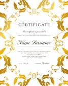 Certificate Template, Gold Border. Editable Design For Diploma, Certificate Of Appreciation, Certifi poster