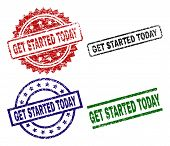 Get Started Today Seal Prints With Corroded Style. Black, Green, Red, Blue Vector Rubber Prints Of G poster