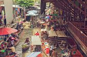 Floating Market In Thailand.bangkok. Food And Culture In Asia.travel And Tourism poster